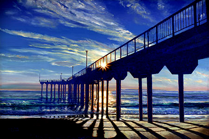 Aliso Pier. Click here to see enlargement. © Ruth Mayer Fine Art.