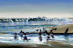 Birds On Main Beach. Click here to see enlargement. © Ruth Mayer Fine Art.