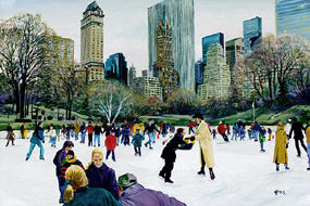 Central Park Skaters. Click here to see enlargement. © Ruth Mayer Fine Art.