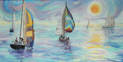 Sunset Sail. Click here to see enlargement. © Ruth Mayer Fine Art.